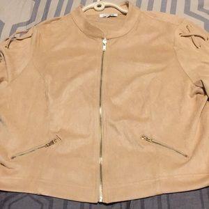 Nude microsuede crop jacket 3X very stretchy NEW